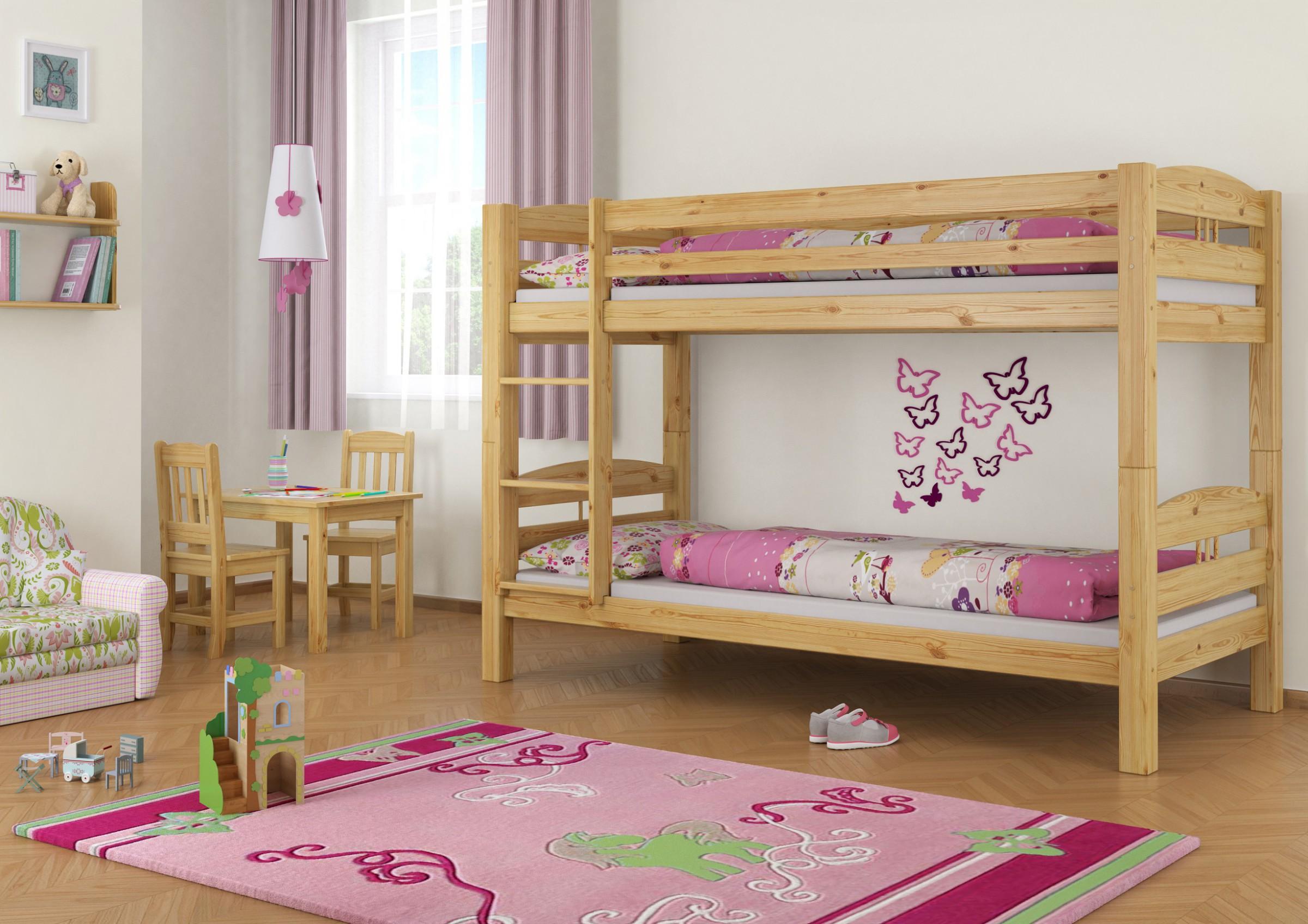 Kinderbett etagenbett holzbett stockbett kiefer 90x200 mit for Kinderzimmer komplett mit etagenbett
