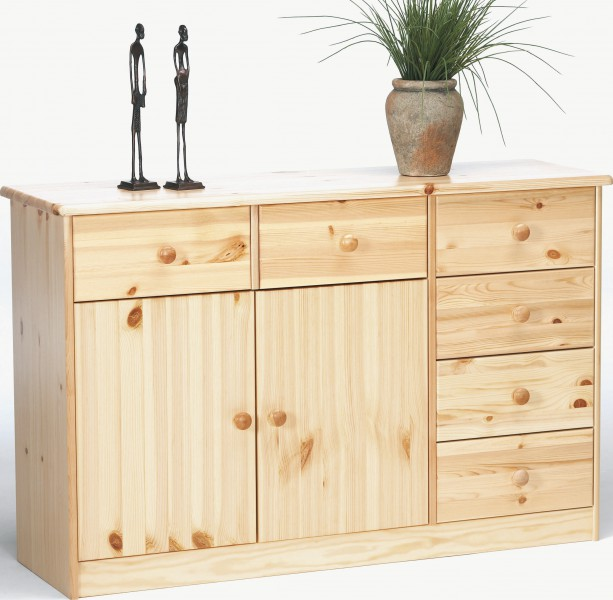sideboard kommode anrichte kiefer natur 6 schubladen 2 t ren ebay. Black Bedroom Furniture Sets. Home Design Ideas