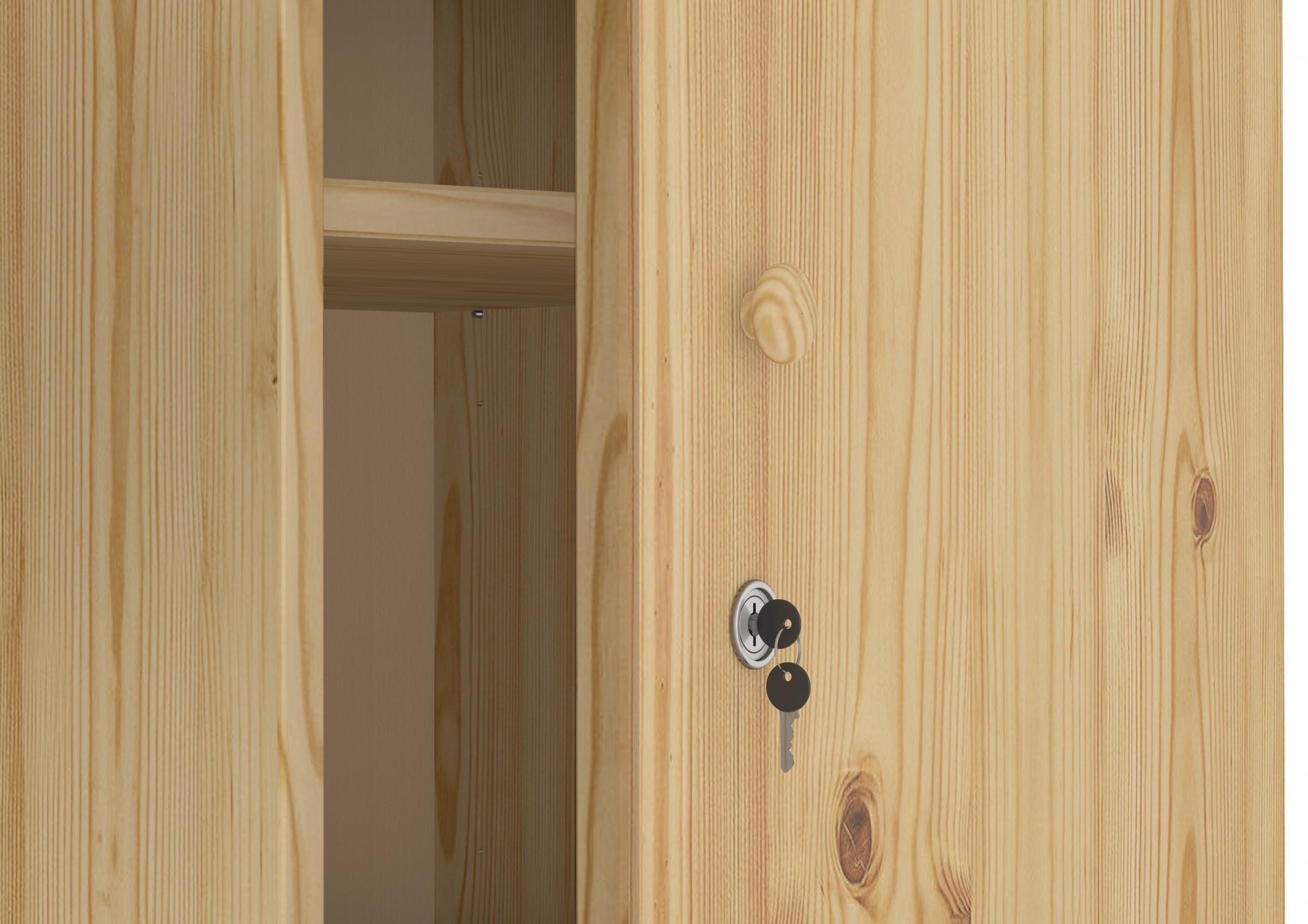 schrank spind kiefer massiv viele f cher und schloss kleiderschrank ebay. Black Bedroom Furniture Sets. Home Design Ideas
