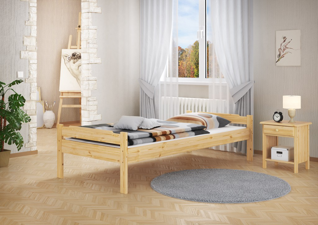 einzel bett jugendbett kiefer massiv 100x200 bettgestell mit rollrost ebay. Black Bedroom Furniture Sets. Home Design Ideas