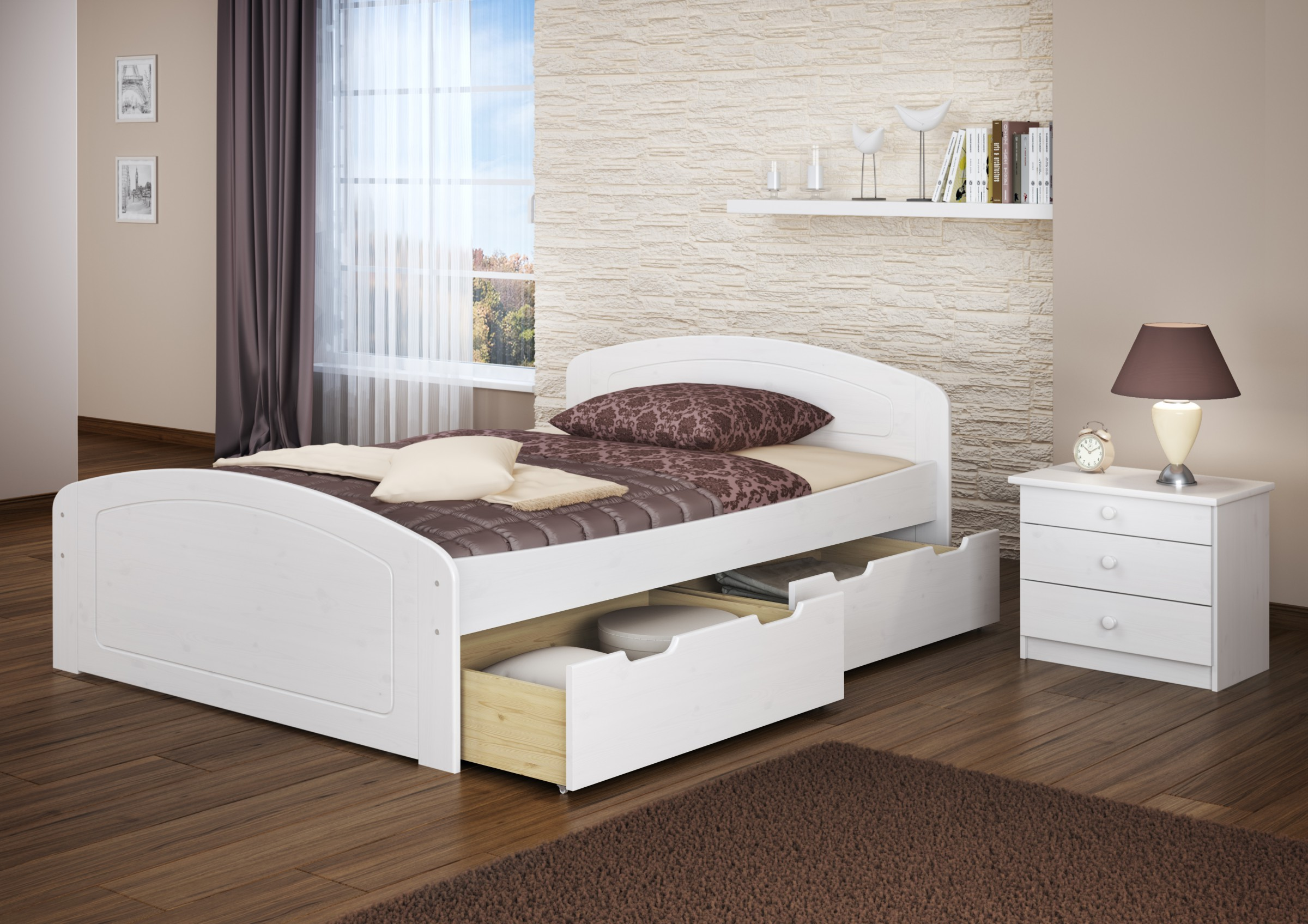 doppelbett 3 bettkasten 200x200 seniorenbett massivholz wei w or ebay. Black Bedroom Furniture Sets. Home Design Ideas