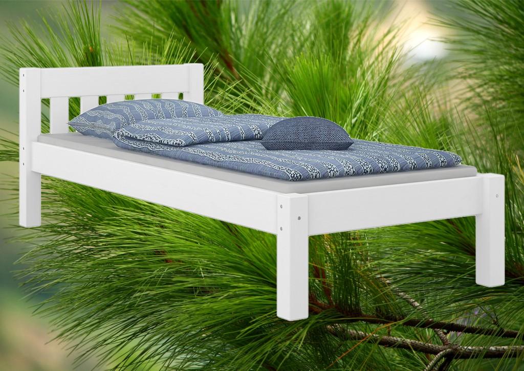 weisses einzel doppelbett kiefer massiv 120x200 mit. Black Bedroom Furniture Sets. Home Design Ideas