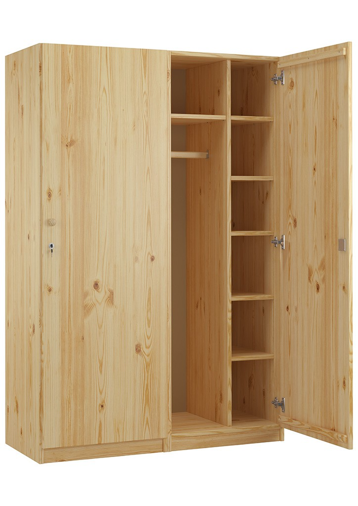 holzschrank spind eint rig kiefer massiv mit vielen f chern und schloss. Black Bedroom Furniture Sets. Home Design Ideas