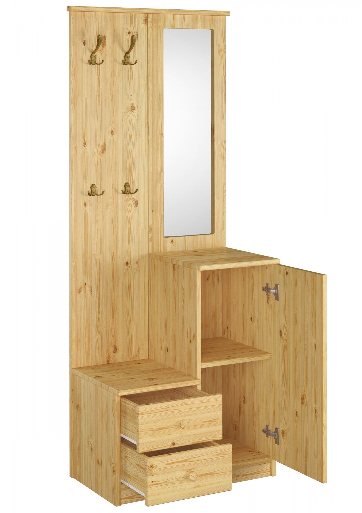 garderobe mit spiegel wandhaken kiefer massiv flurm bel dielenschrank. Black Bedroom Furniture Sets. Home Design Ideas