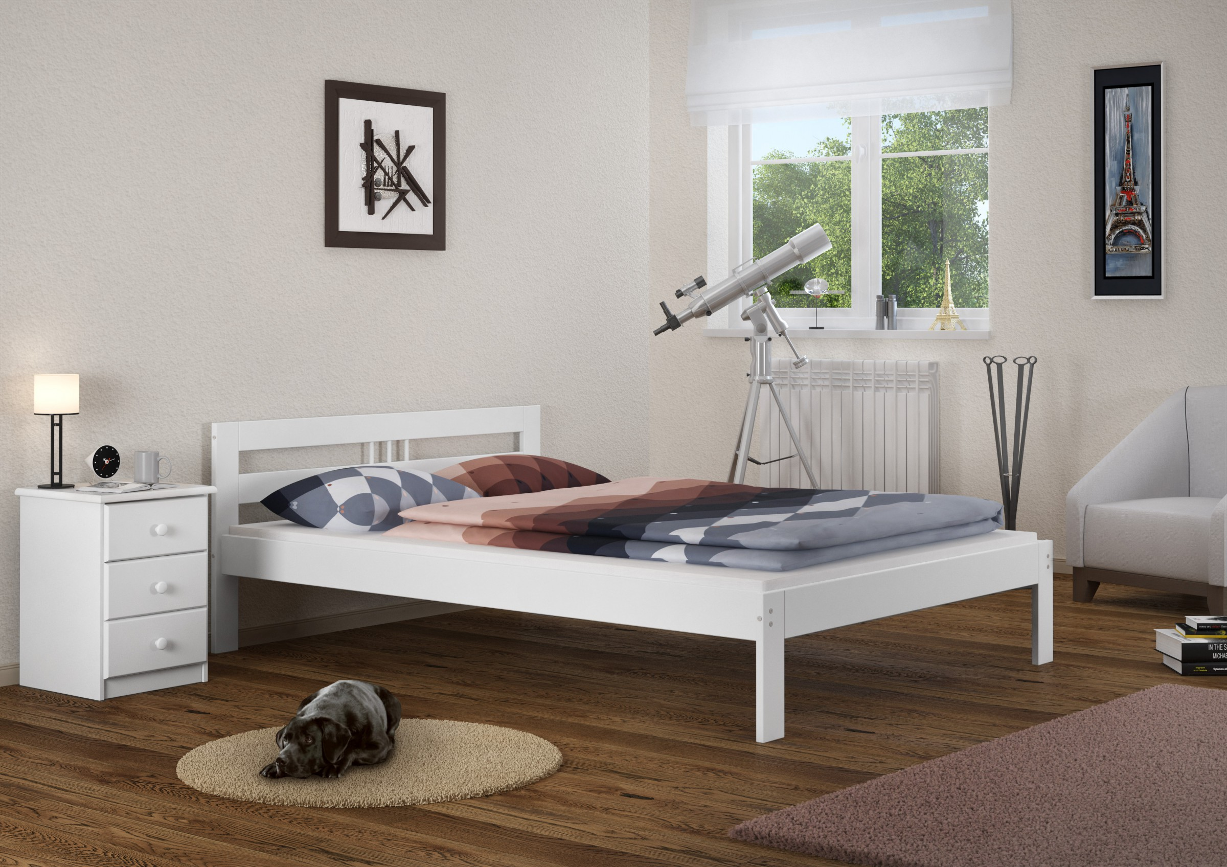 massivholzbett weiss kiefer jugendbett 120x200 futonbett. Black Bedroom Furniture Sets. Home Design Ideas