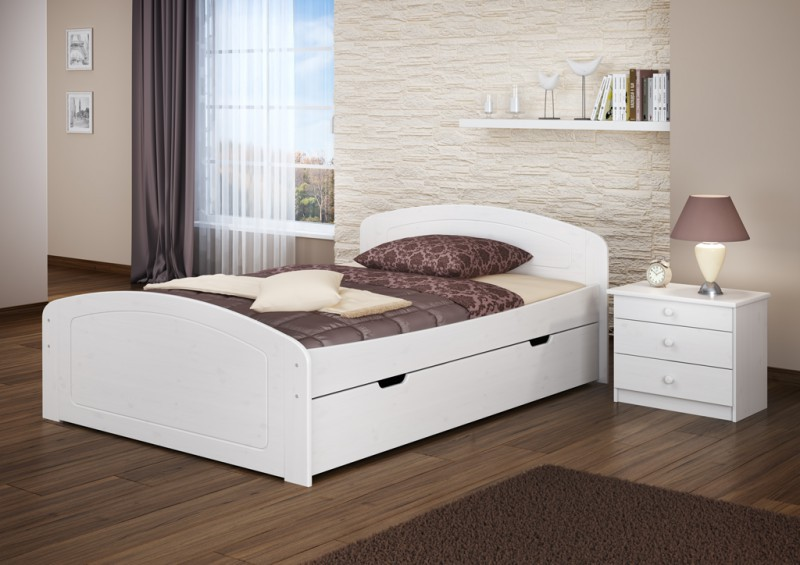 funktionsbett 140x200 doppelbett 3 bettkasten seniorenbett wei w or ebay. Black Bedroom Furniture Sets. Home Design Ideas