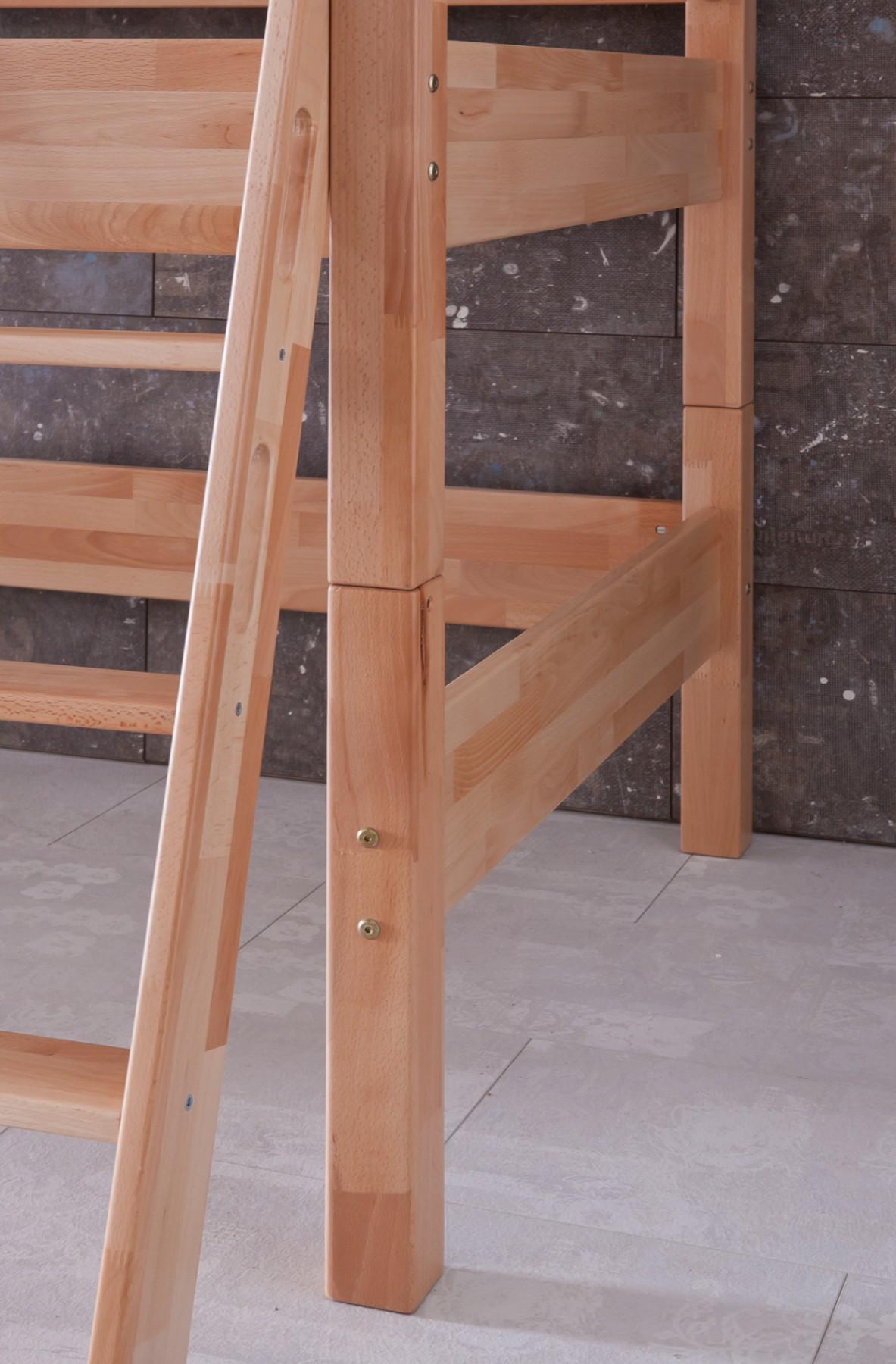 kinder stockbett buche 90x200 halbhochbett spielbett rutsche rollrost ebay. Black Bedroom Furniture Sets. Home Design Ideas