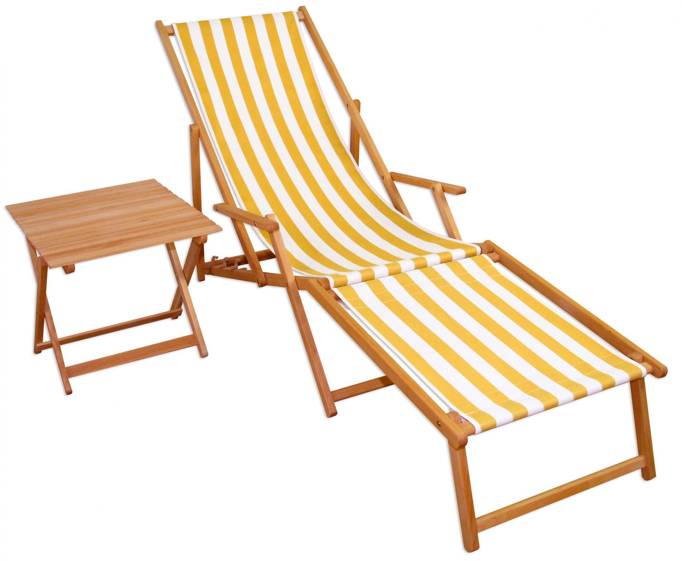 liegestuhl gartenliege gelb wei fu teil tisch holzliege. Black Bedroom Furniture Sets. Home Design Ideas