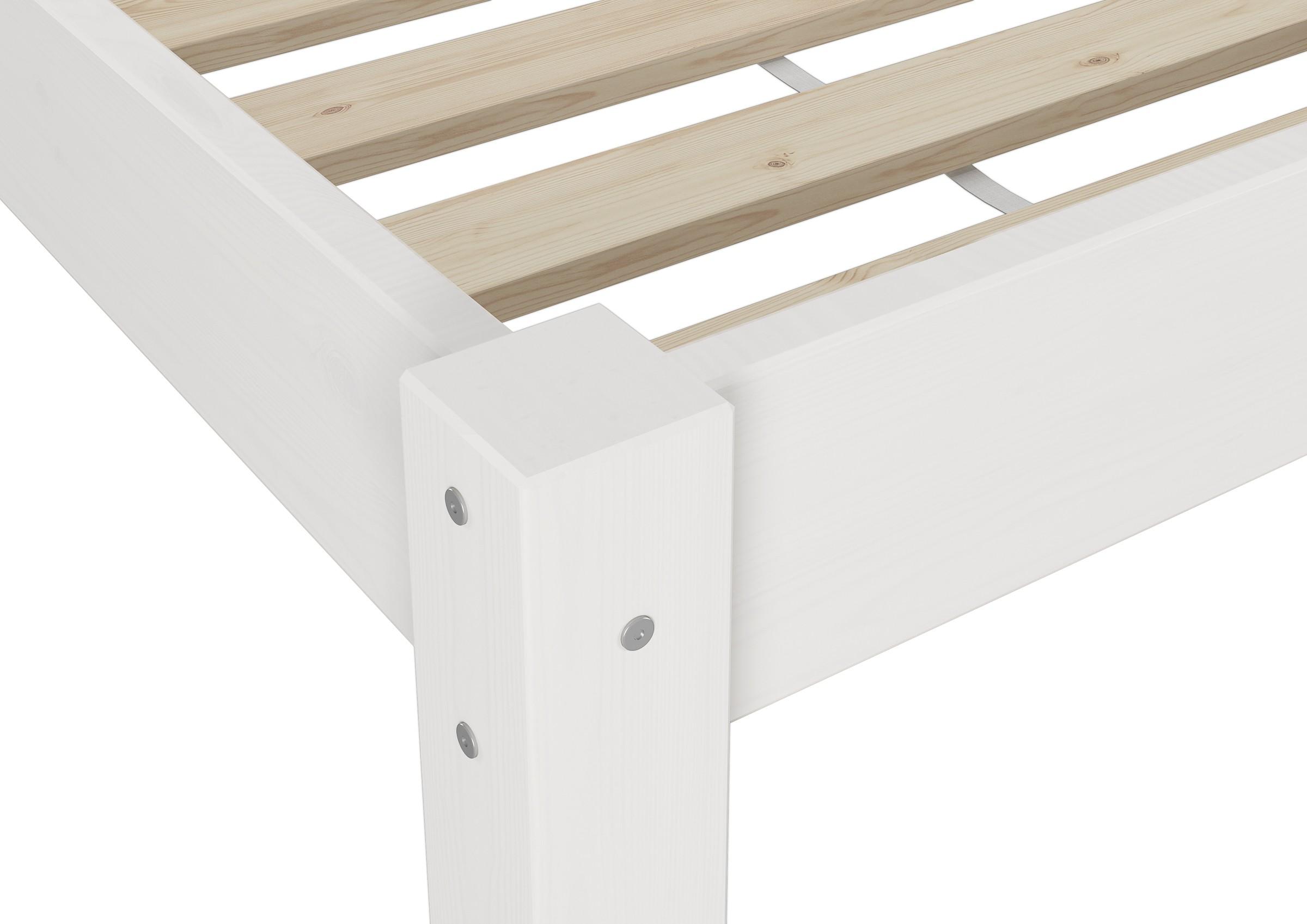 weisses futonbett ohne kopfteil massiv 90x200 bettgestell rollrost w ebay. Black Bedroom Furniture Sets. Home Design Ideas