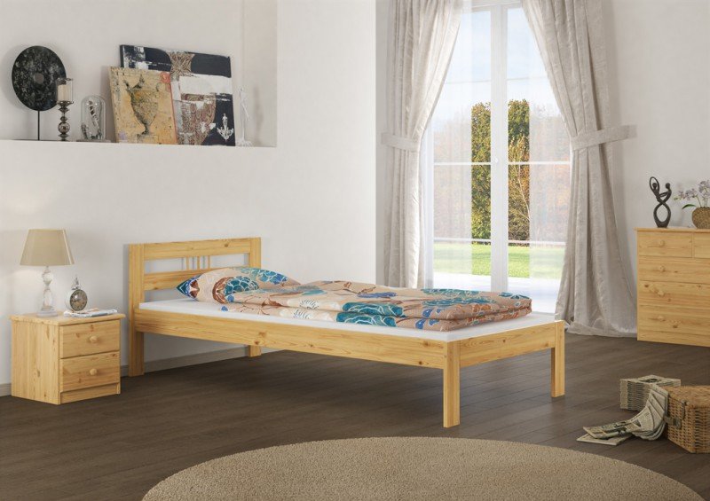 or bettgestell futonbett kiefer massivholz 100x200 cm ohne lattenrost ebay. Black Bedroom Furniture Sets. Home Design Ideas