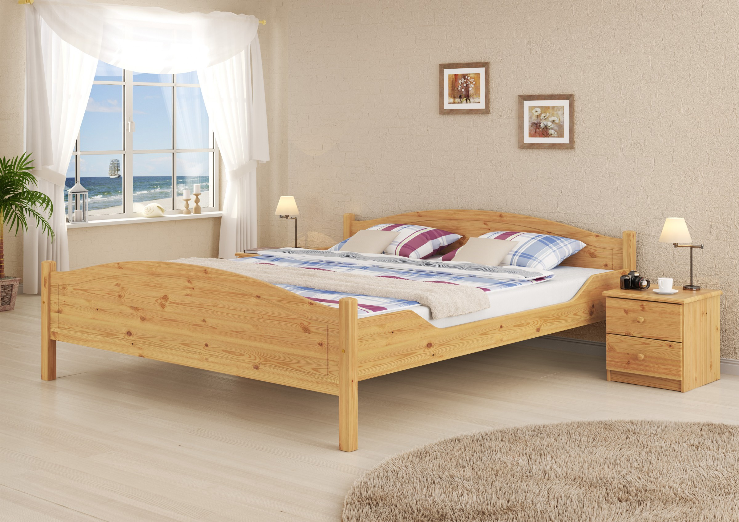 doppelbett ehebett kiefer natur massiv kingsizebett 200x200 rollrost ebay. Black Bedroom Furniture Sets. Home Design Ideas