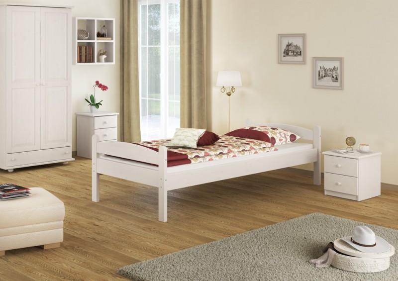 letto singolo stabile letto letto per gli ospiti pino bianco 100x200 con ebay. Black Bedroom Furniture Sets. Home Design Ideas