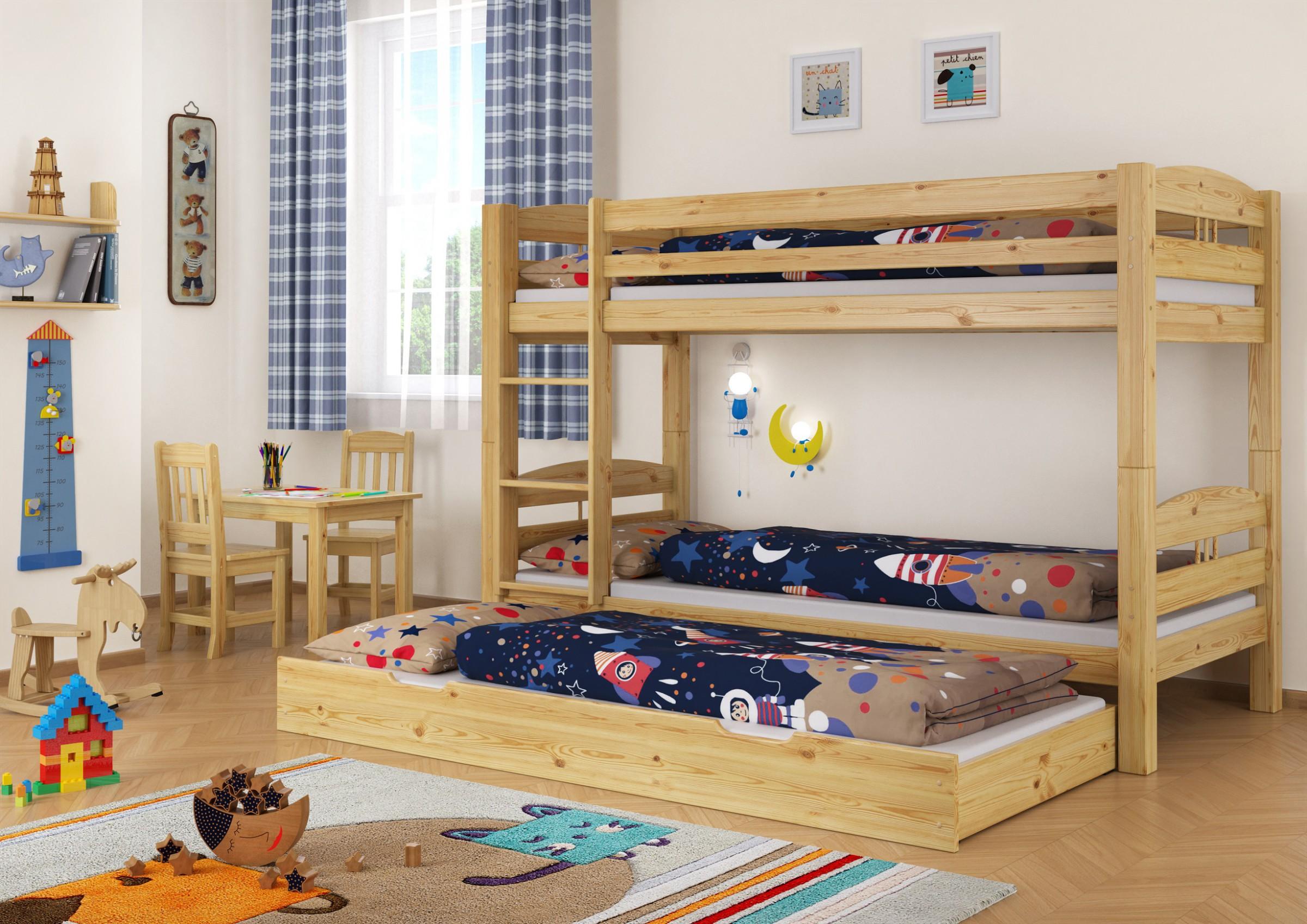 Letto a castello di pino 90x200 con 3 doghe e 1 letto per for Letto per gli ospiti
