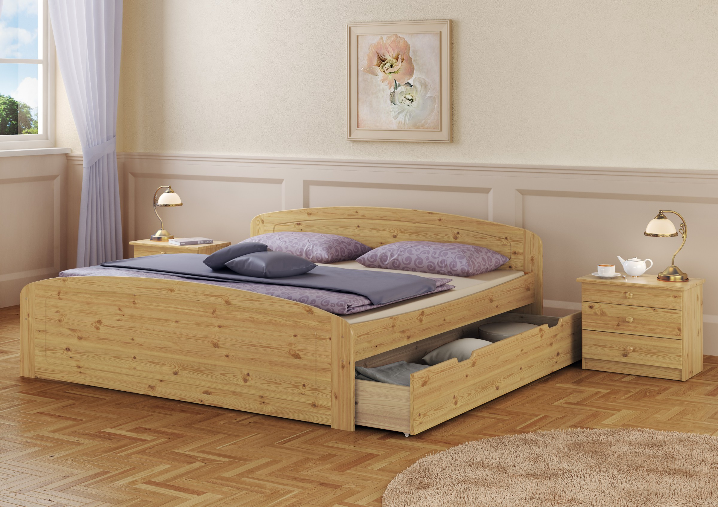 doppelbett bettkasten rollrost 200x200 seniorenbett massivholz kiefer ebay. Black Bedroom Furniture Sets. Home Design Ideas