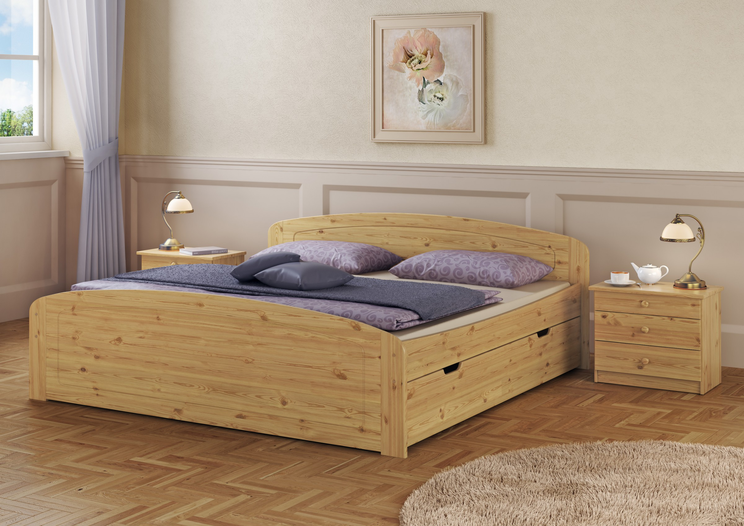 funktionsbett doppelbett bettkasten rollrost 160x200. Black Bedroom Furniture Sets. Home Design Ideas