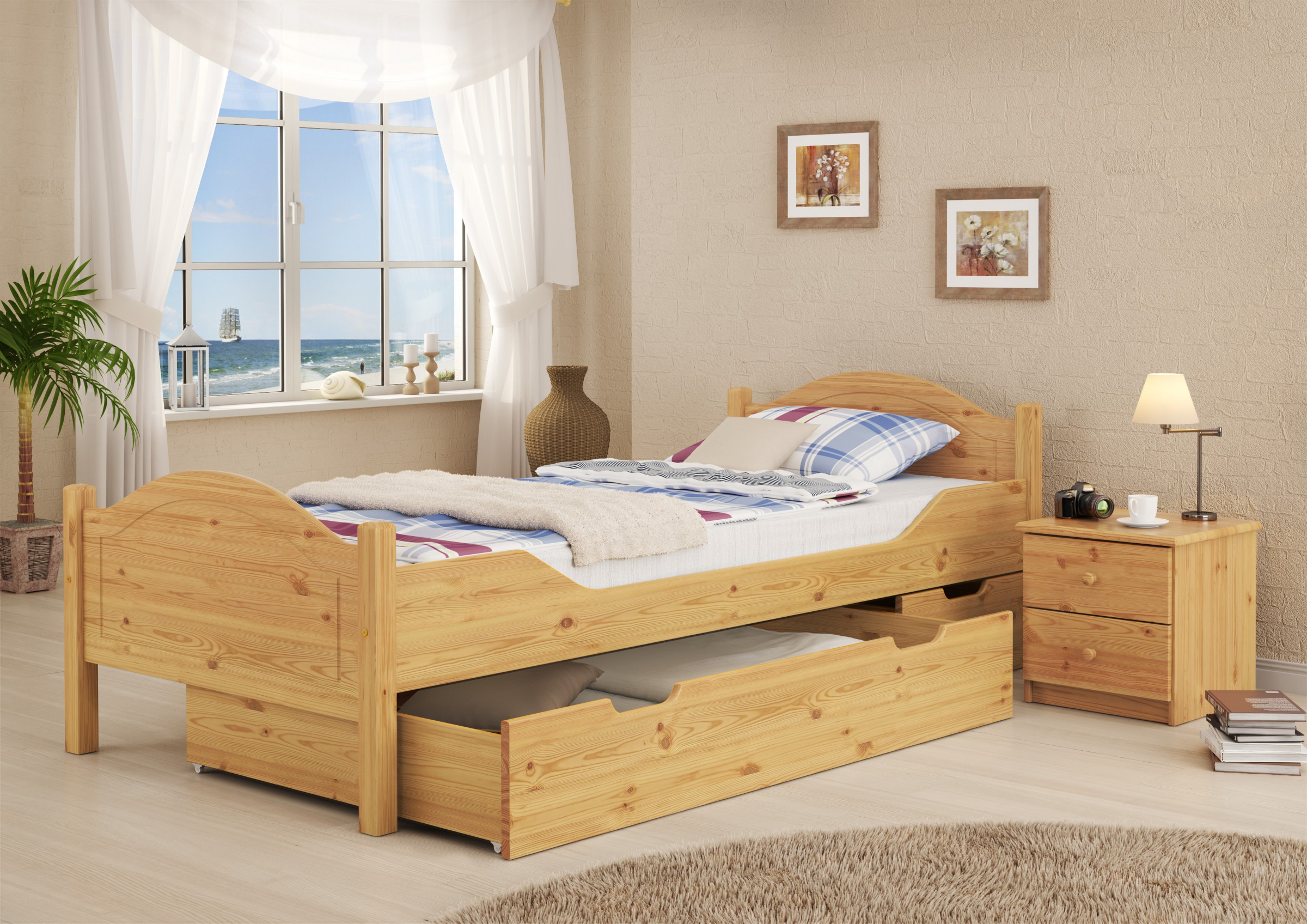 bett einzelbett jugendbett kiefer massiv 90x200 cm mit lattenrollrost ebay. Black Bedroom Furniture Sets. Home Design Ideas