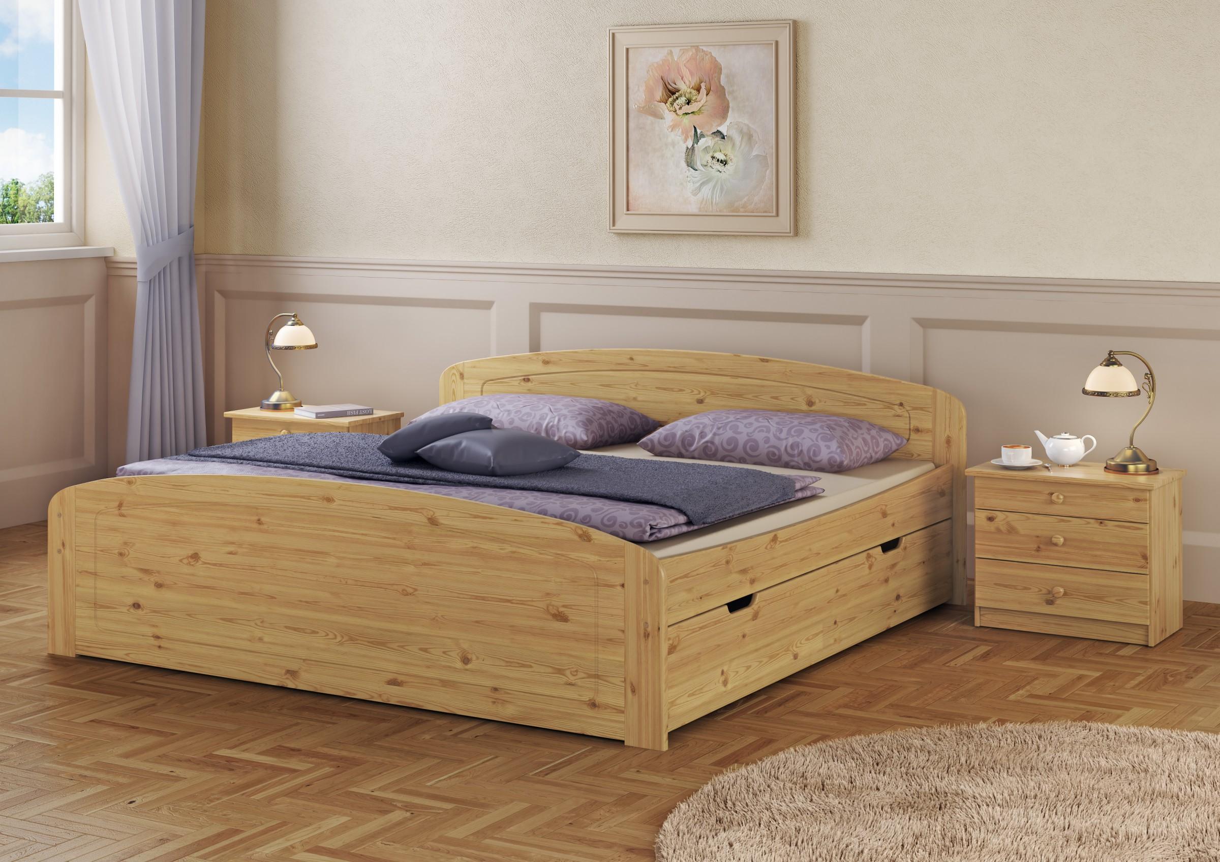 doppelbett bettkasten rollrost matratze 180x200 seniorenbett kiefer m. Black Bedroom Furniture Sets. Home Design Ideas