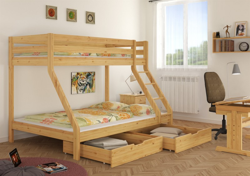 doppel etagenbett f r drei personen 140x200 u 90x200 f r erwachsene ebay. Black Bedroom Furniture Sets. Home Design Ideas