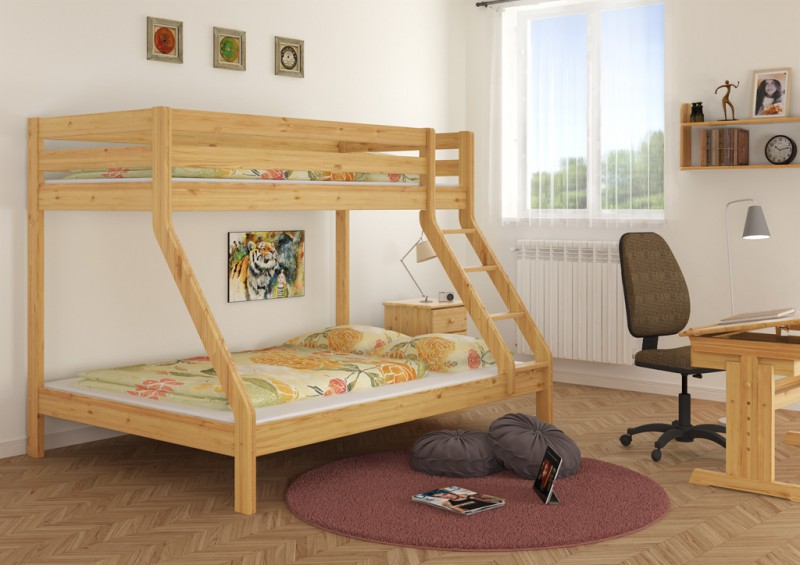 doppel etagenbett f r drei personen 140x200 u 90x200 f r erwachsene. Black Bedroom Furniture Sets. Home Design Ideas