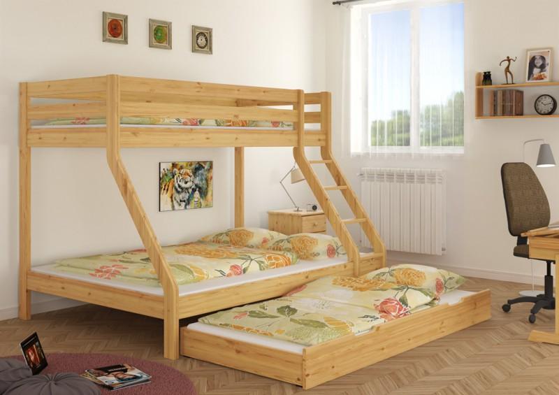 doppel etagenbett f r drei personen 140x200 u 90x200 f r erwachsene ebay. Black Bedroom Furniture Sets. Home Design Ideas