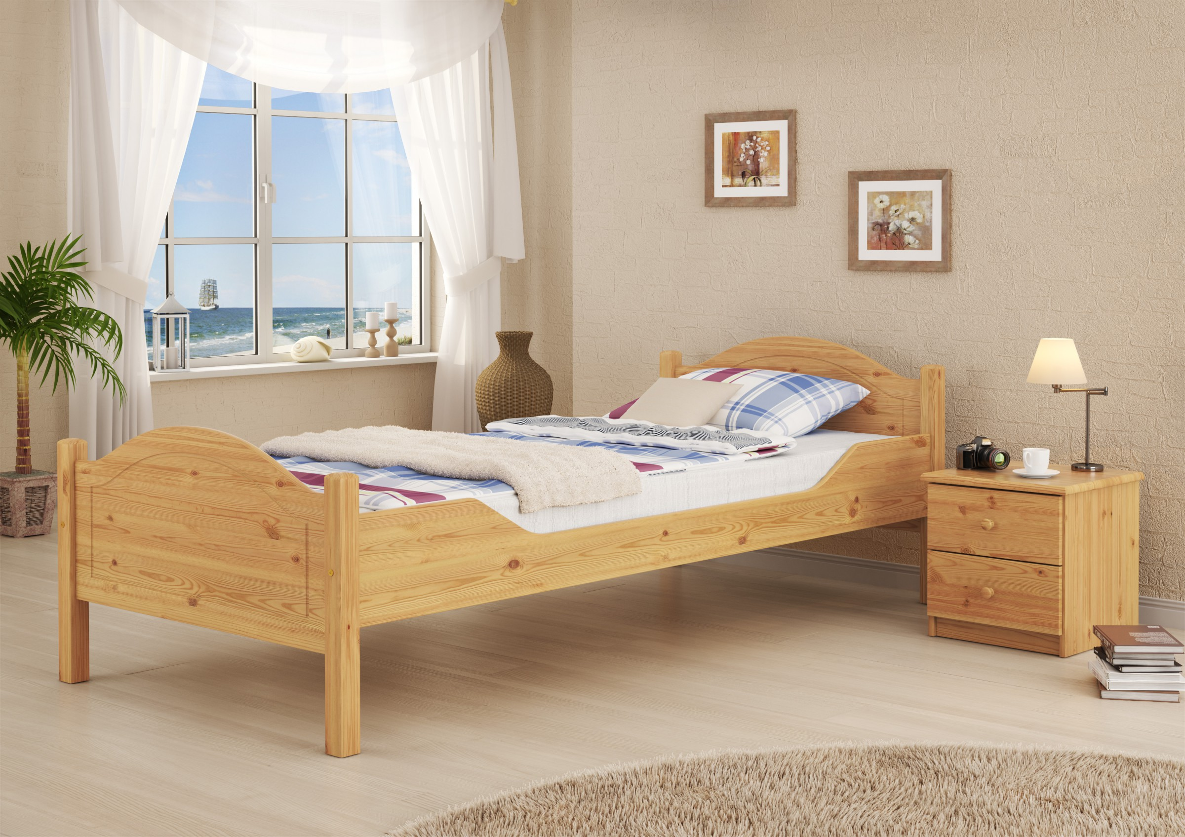 stabiles bett jugendbett kiefer 90x200 ohne lattenrost u zubeh r or ebay. Black Bedroom Furniture Sets. Home Design Ideas