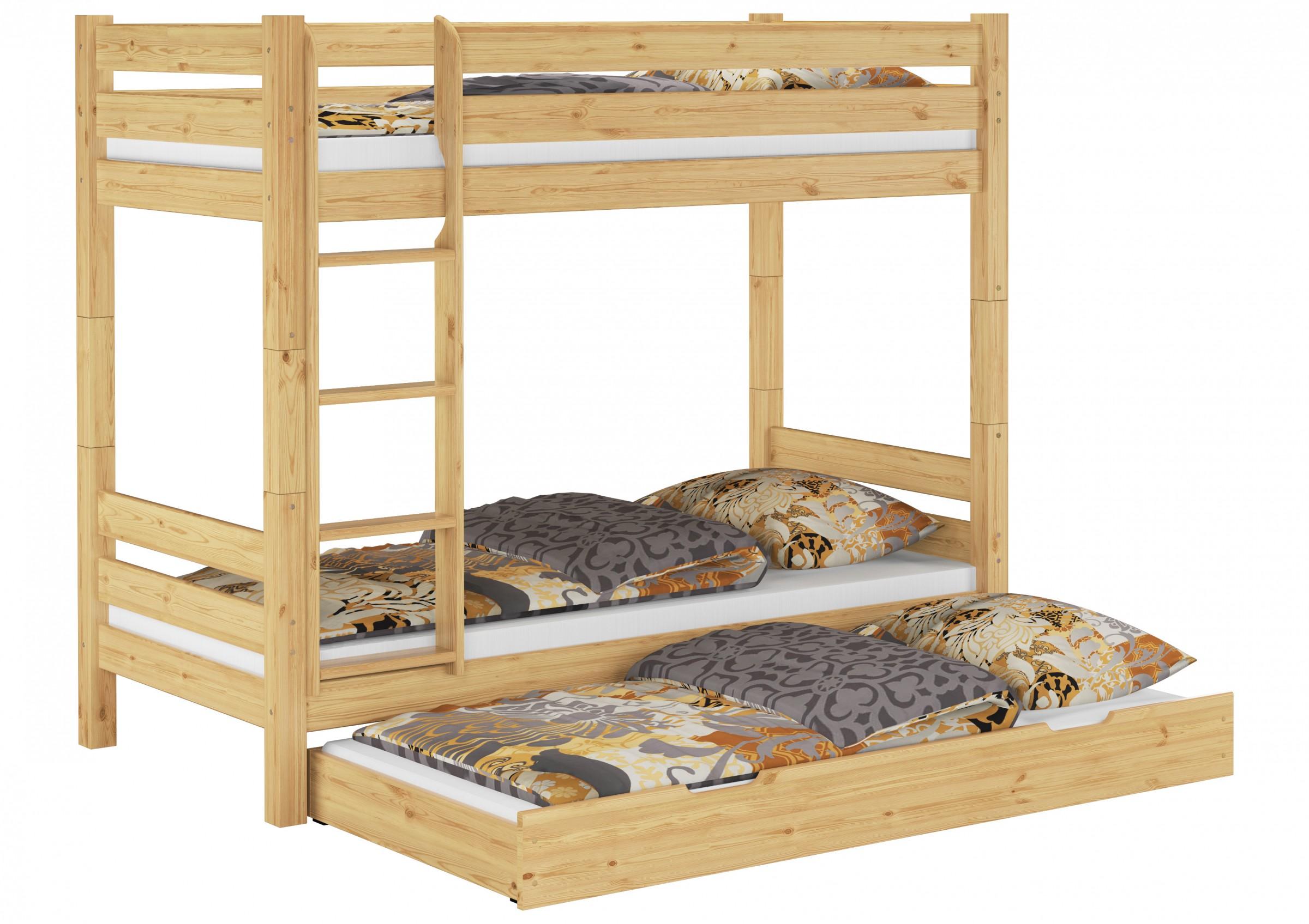 etagenbett kiefer massiv 90x200 mit 3 schlafpl tzen matratzen 070 m s7m ebay. Black Bedroom Furniture Sets. Home Design Ideas