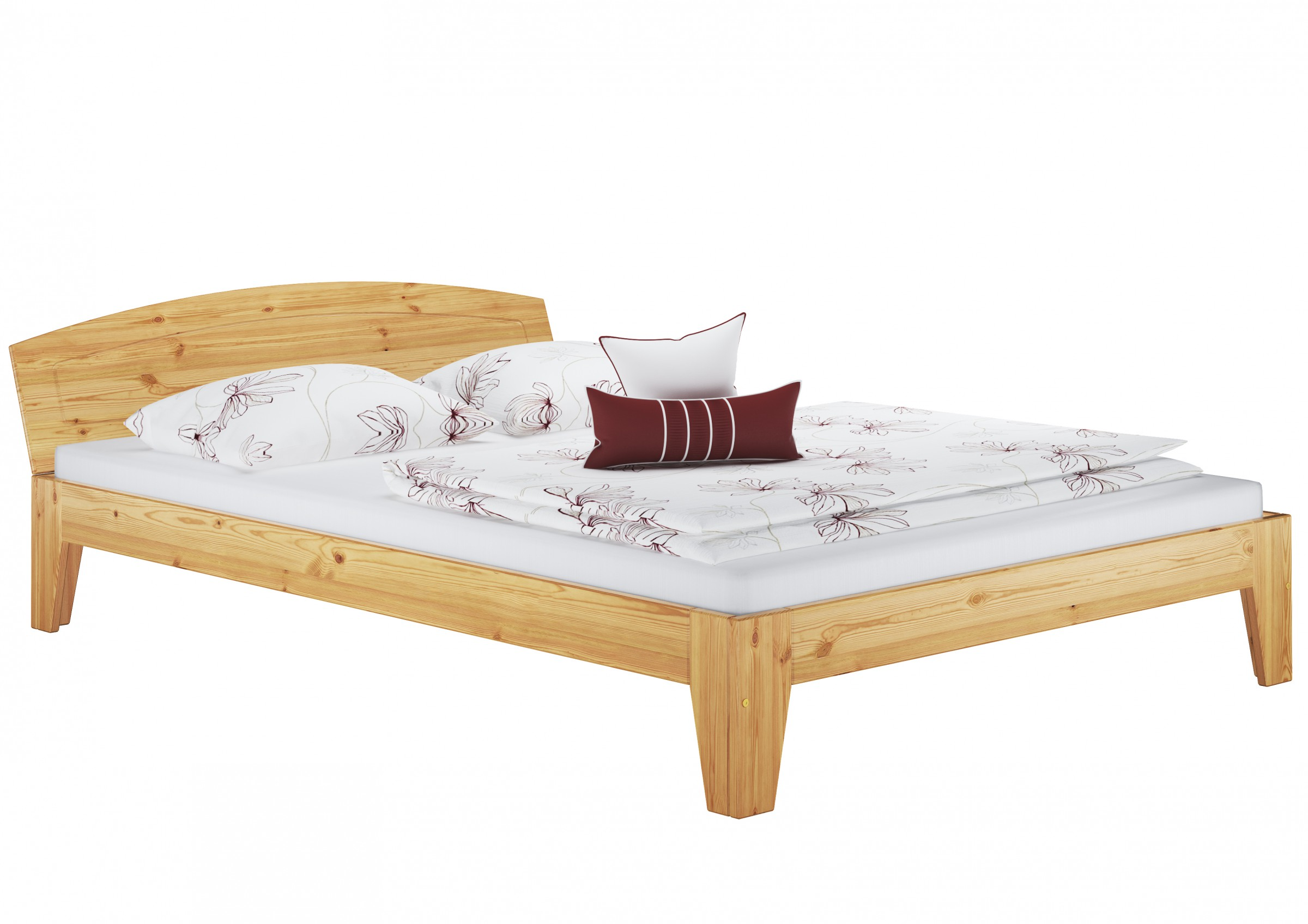 Doppelbett holzbett franz sisches bett kiefer massiv for Bett kiefer massiv
