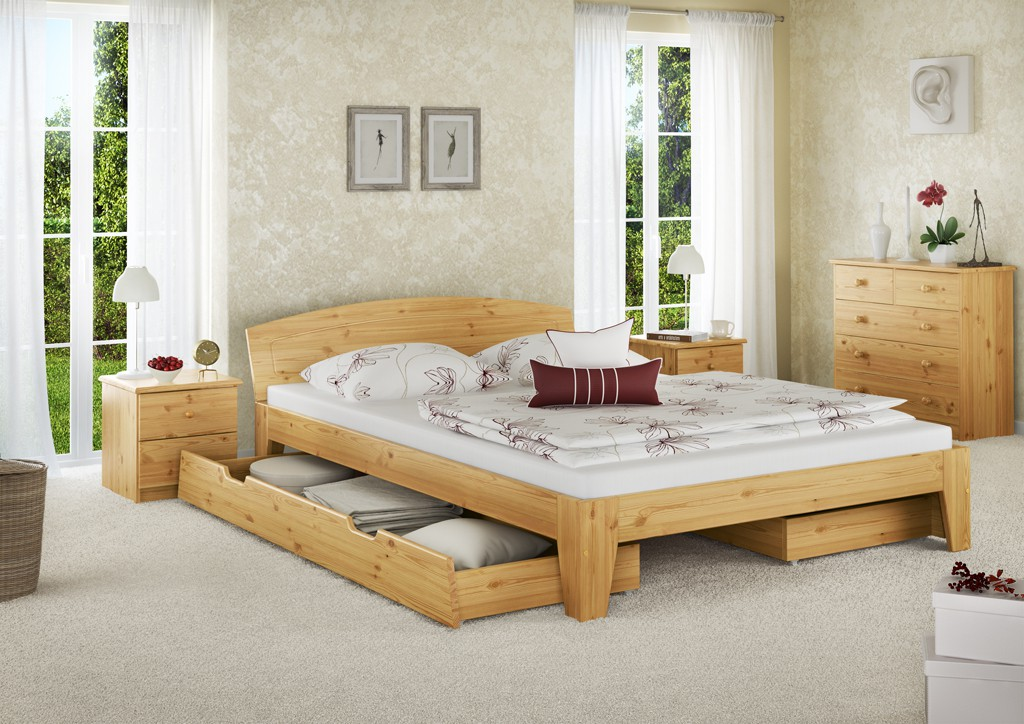 doppelbett holzbett franz sisches bett kiefer massiv 140x200 rollrost ebay. Black Bedroom Furniture Sets. Home Design Ideas