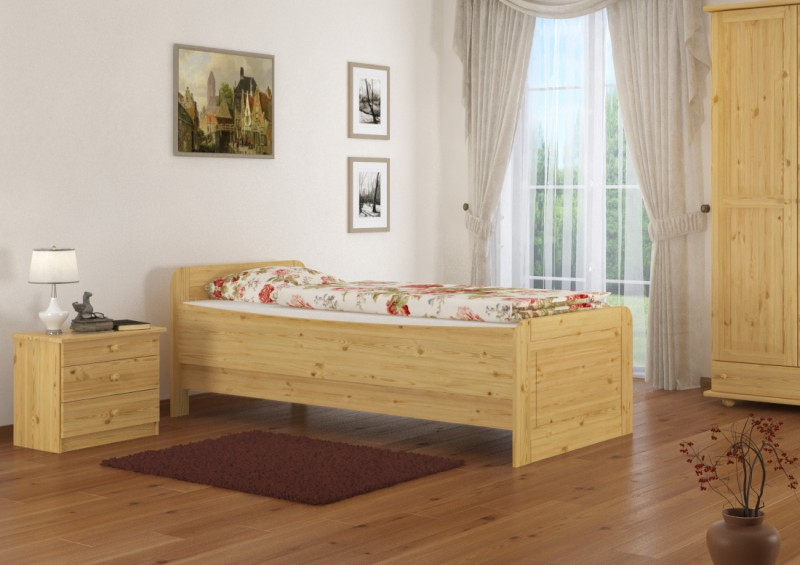 seniorenbett extra hoch 100x200 einzelbett holzbett massivholz bett or ebay. Black Bedroom Furniture Sets. Home Design Ideas