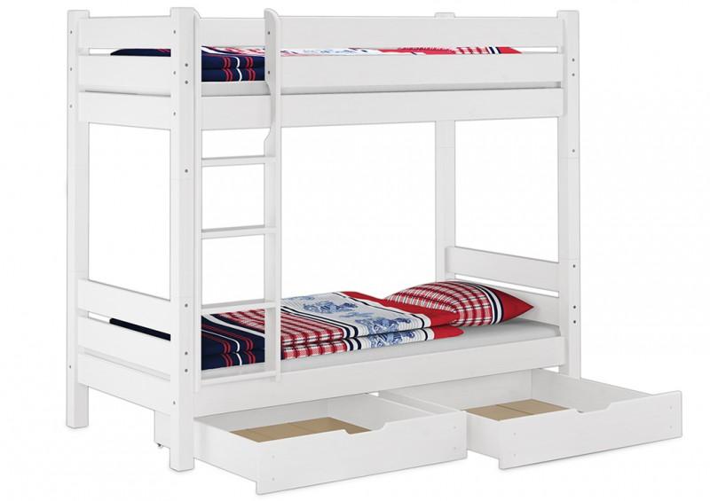 etagenbett wei 100x200 teilbar mit 2 rollroste u bettk sten w t100 s2. Black Bedroom Furniture Sets. Home Design Ideas