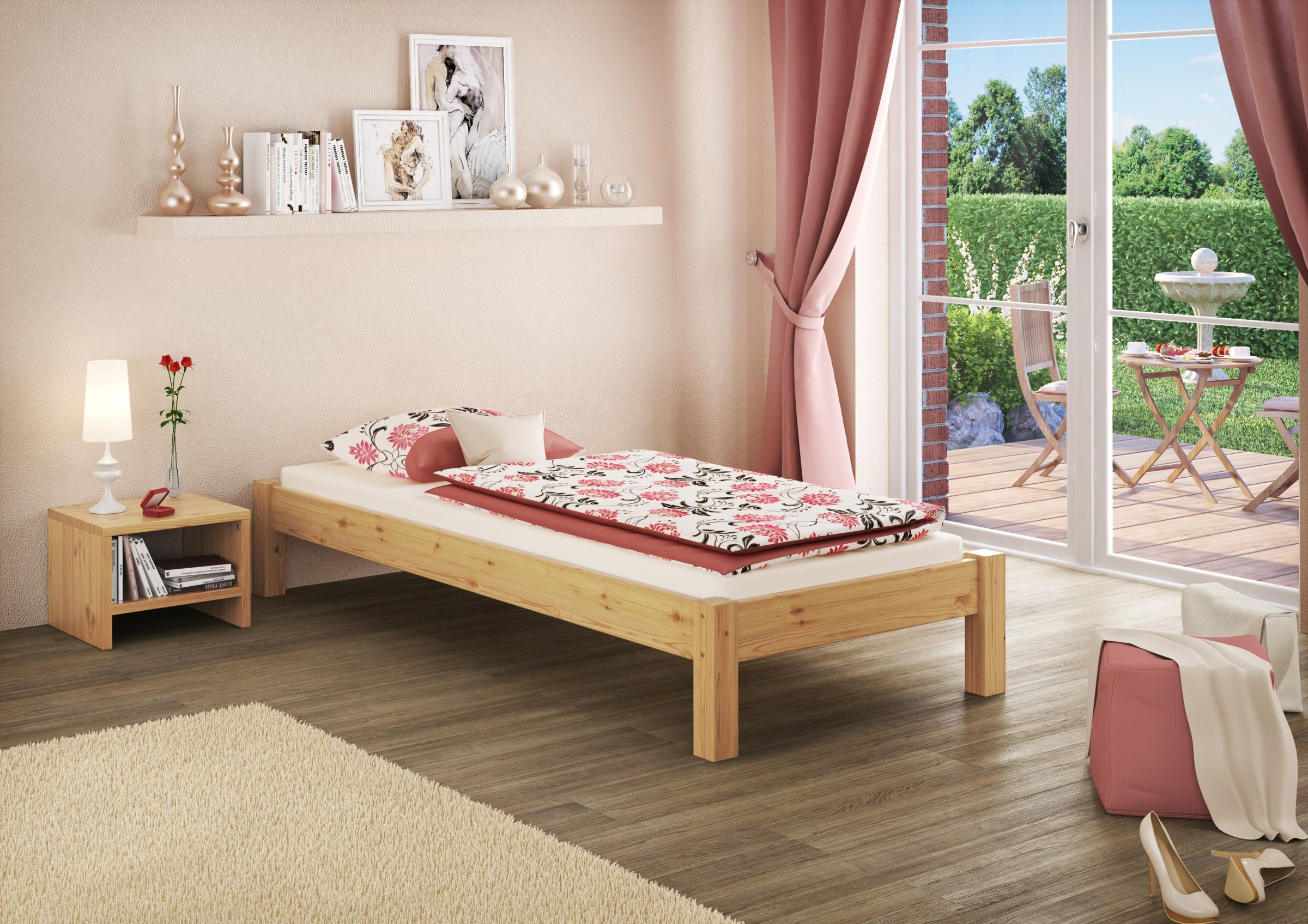 letto singolo legno massello letto a futon letto per gli ospiti 100x200 senza ebay. Black Bedroom Furniture Sets. Home Design Ideas