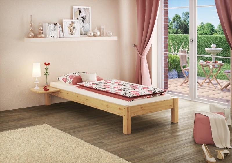 bett kiefer massiv futonbett jugendbett stabil 100x200 cm. Black Bedroom Furniture Sets. Home Design Ideas