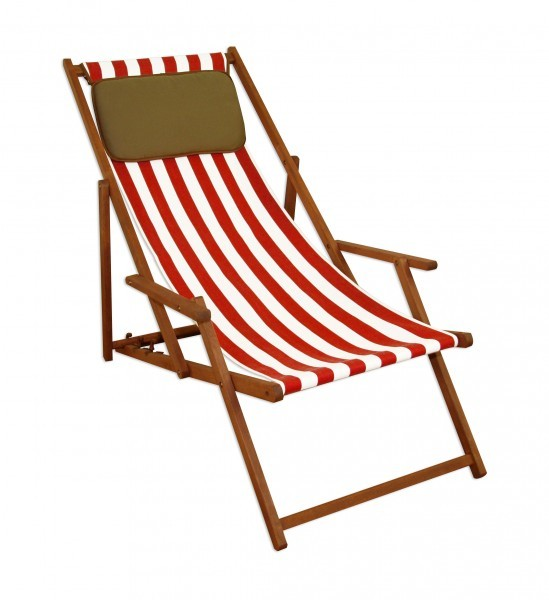 strandstuhl klappliege sonnenliege holz liegestuhl deckchair kissen 10 314 kd ebay. Black Bedroom Furniture Sets. Home Design Ideas