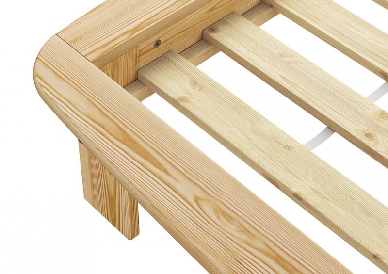 lit en futon 140x200 bois pin lits massif. Black Bedroom Furniture Sets. Home Design Ideas