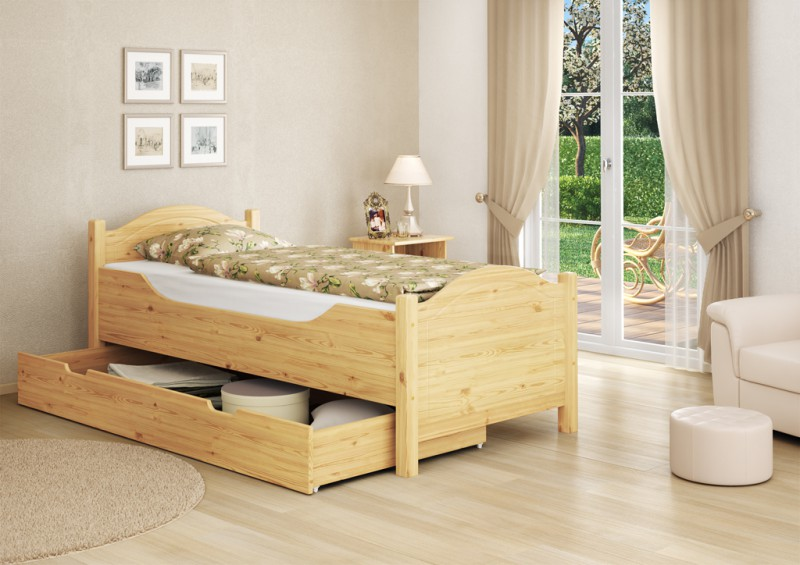 seniorenbett hoch bettkasten 100x200 kiefer holzbett einzelbett s4 ebay. Black Bedroom Furniture Sets. Home Design Ideas