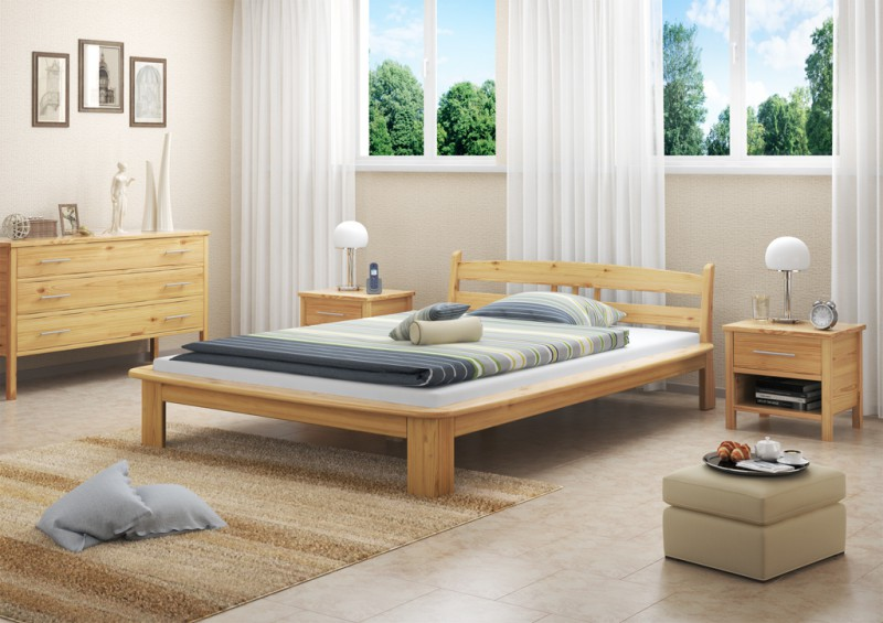 m bett 140x200 cm kompl mit rollrost und matratze. Black Bedroom Furniture Sets. Home Design Ideas