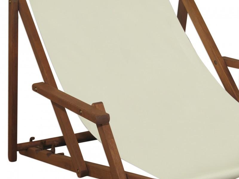 Transat pour jardin blanc chaise longue partie de pied for Chaise longue bois avec repose pied