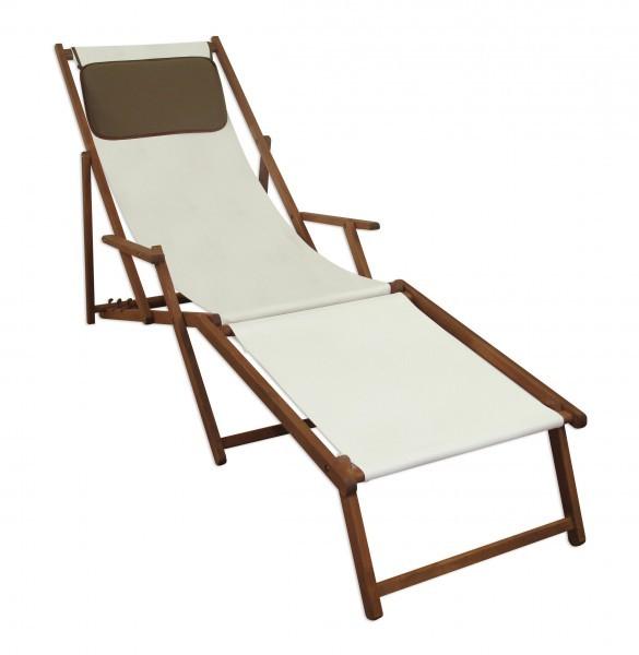 Transat pour jardin blanc chaise longue partie de pied for Chaise longue avec repose pied