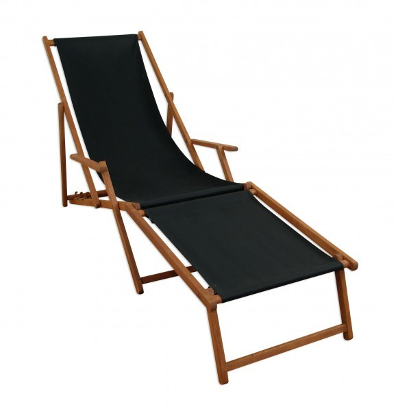 liegestuhl holz gartenliege sonnenliege deckchair schwarz mit fu teil 10 305 f ebay. Black Bedroom Furniture Sets. Home Design Ideas