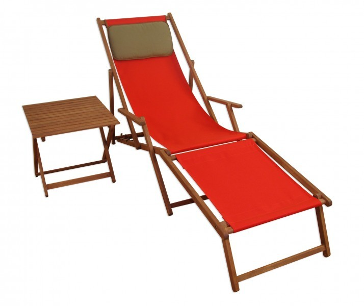 chaise longue chaise de jardin terrasse rouge avec pied coussin et table 10 308 ebay. Black Bedroom Furniture Sets. Home Design Ideas