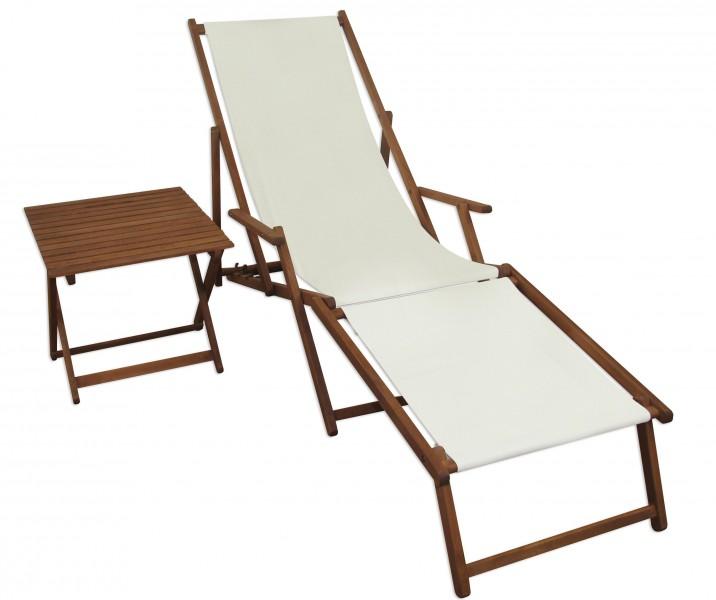 chaise longue blanc avec pied et table de jardin terrasse 10 303 f t ebay. Black Bedroom Furniture Sets. Home Design Ideas
