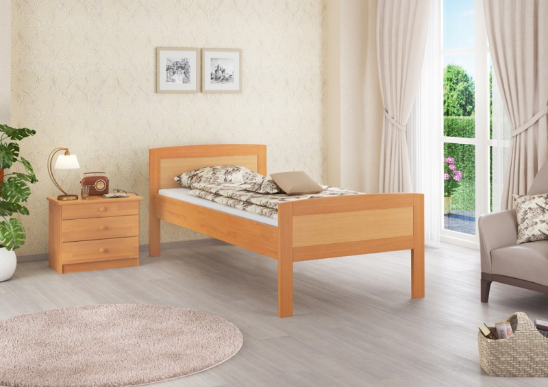 seniorenbett buche extra hoch 100x200 cm mit rollrost ebay. Black Bedroom Furniture Sets. Home Design Ideas
